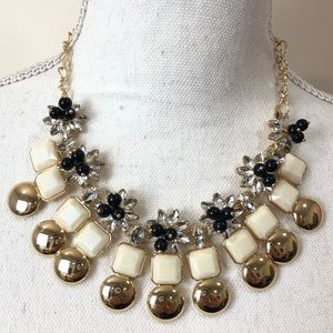 INC Crystals Black Beads Beige Gold Necklace